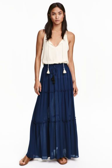 Tiered crêpe skirt: Long tiered skirt in a viscose crêpe weave with an elasticated drawstring waist. Unlined.