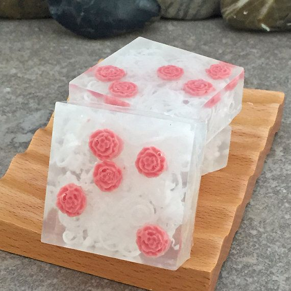 Red Rose Glycerin Soap Bar Set of 3 Square Guest by AlaiynaBSoaps