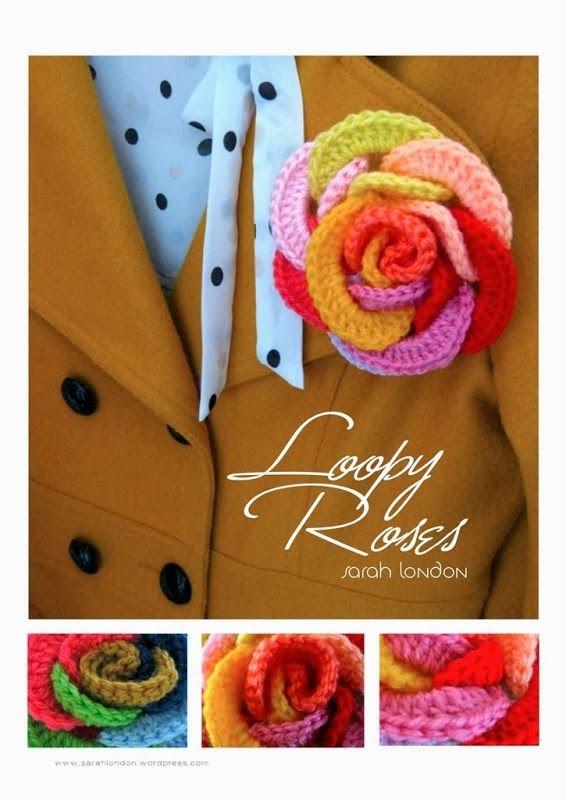 """Como hacer una Rosa con Aros de Crochet - Patrones Crochet  Dit is hetzelfde patroon als die van de """"ringen""""armband"""