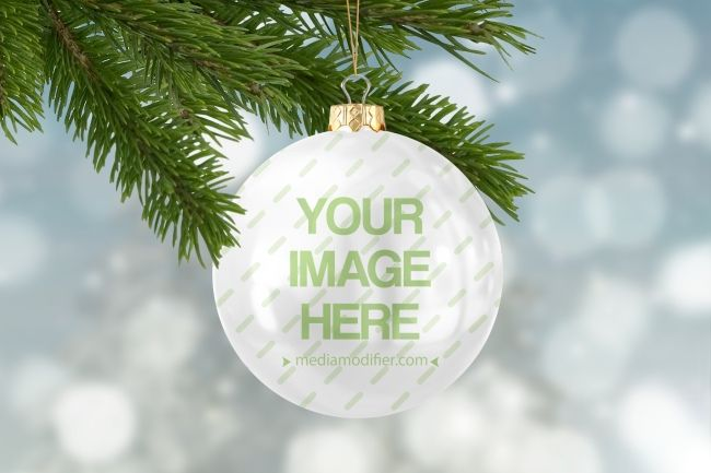 Online Mockup Template Of A Classic Christas Decoration Ball Hanging On A Christmas Tree Customize The Color An Ball Ornaments Christmas Balls Mockup Template