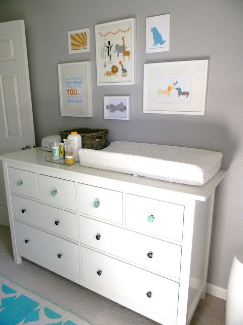 white Ikea dresser as changing table. @Lindsey Grande Cunningham this looks like a good amount of storage and can double as a changing table for the kids' room. i also like the grey on the walls