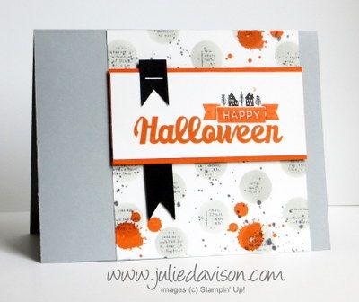 Stampin' Up! Halloween Street Sneak Peek + VIDEO tip for Dictionary Dots Background #stampinup www.juliedavison.com