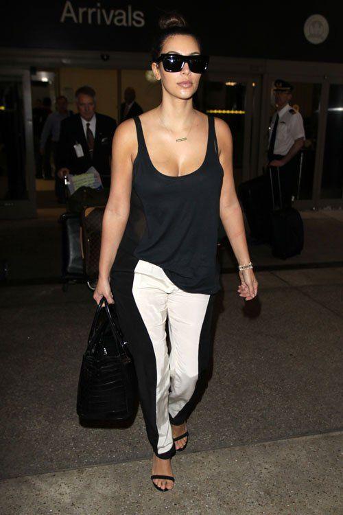 Kim Kardashian - Black & White Pants & Loose Tank Top
