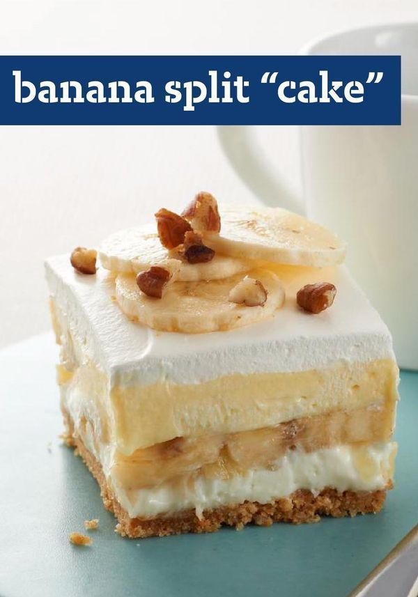 """Banana Split """"Cake"""" – Fix these delish treats and spread a little happiness among your family and friends. The recipe requires just 15 minutes of prep, so they're easy to make too."""