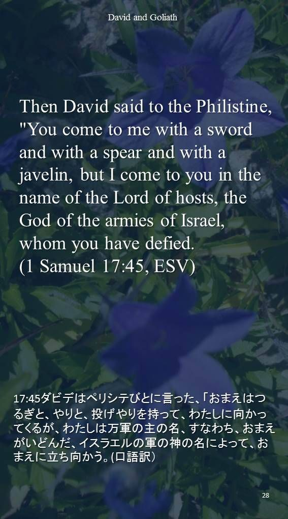 """Then David said to the Philistine, """"You come to me with a sword and with a spear and with a javelin, but I come to you in the name of the Lord of hosts, the God of the armies of Israel, whom you have defied.(1 Samuel 17:45, ESV)17:45ダビデはペリシテびとに言った、「おまえはつるぎと、やりと、投げやりを持って、わたしに向かってくるが、わたしは万軍の主の名、すなわち、おまえがいどんだ、イスラエルの軍の神の名によって、おまえに立ち向かう。(口語訳)"""
