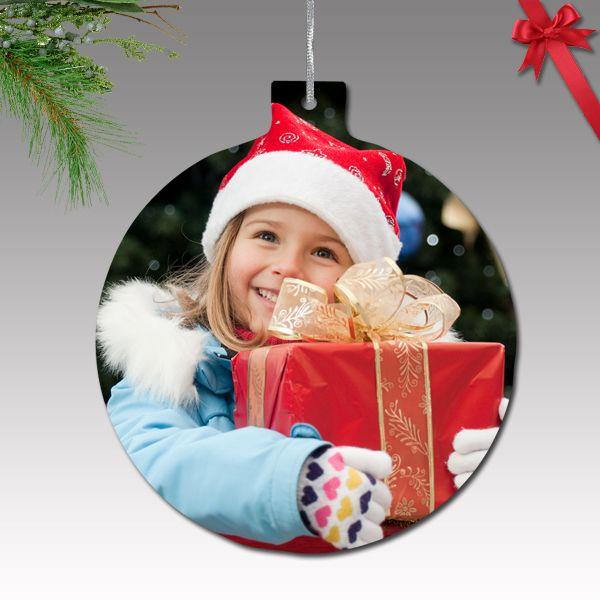 Fényképes karácsonyfa dísz - műanyag, kör