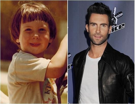Adam Levine at 3 and as an adult.