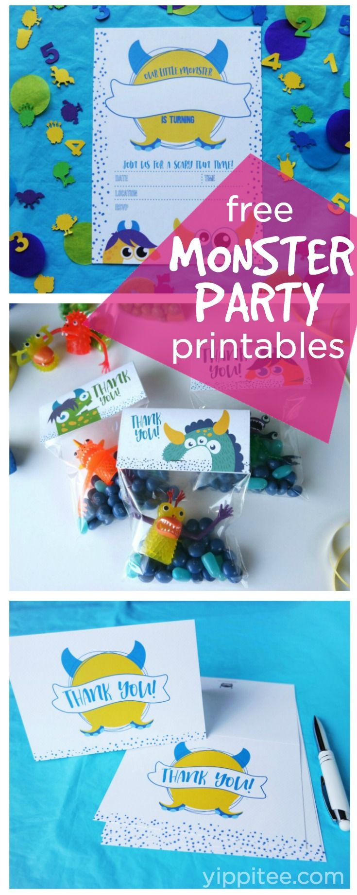 Monster Birthday Party Printables - free invite, party favor, and thank you card downloads