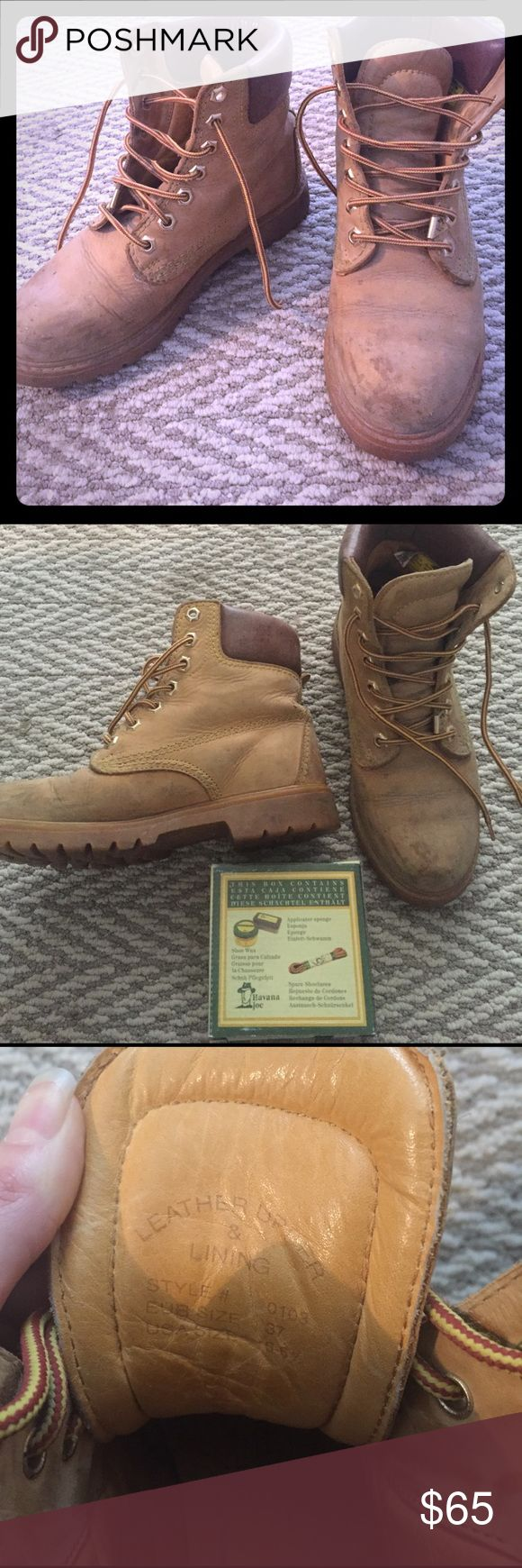 Vintage Havana Joes! Size 6 women's. Amazing vintage Havana Joes women's work boots.  Marked size 37, fits a 6.  Comes with brand new wax, applicator, and spare laces. Havana Joe's Shoes Combat & Moto Boots