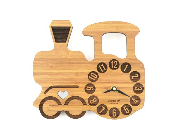 Wooden Train Clock, Bamboo Clock for Boys' Rooms, Baby Nursery Decor, Clock with Silent Motor, Eco-Friendly Wood Clock
