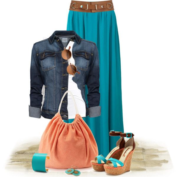 Spring, Summer & Fall...LOVE the teal of this maxi skirt.  Simply obsessed with adding a jean jacket!!