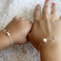Mother Daughter Eternity Bracelets Set, Circle, Pearl, Mothers Day