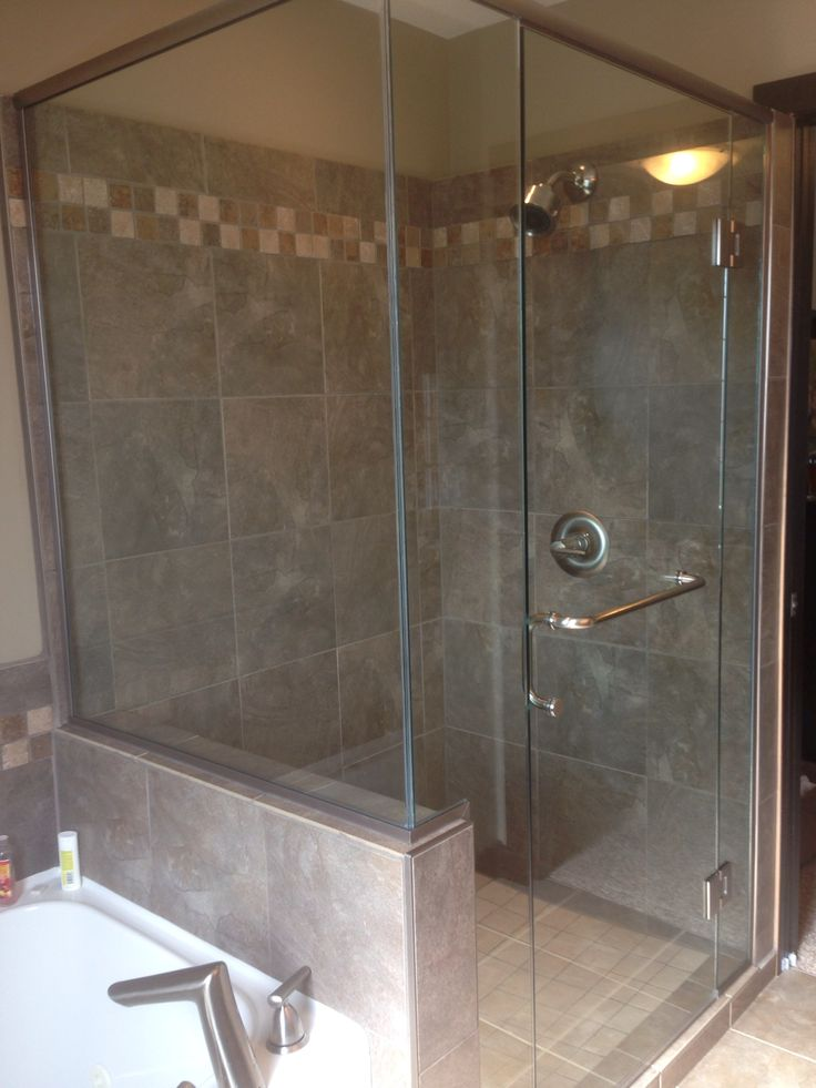 Pin by richard hermann on showers designed by accurate for Half wall shower glass