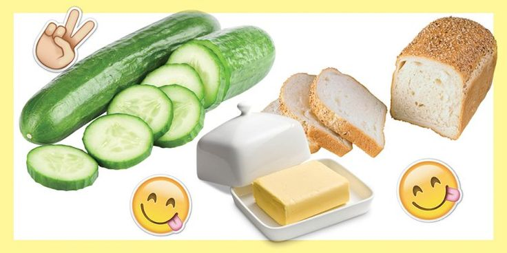 НАСТОЯЩИЙ АНГЛИЙСКИЙ СЭНДВИЧ  Тебе понадобится:  2 ломтика квадратного белого хлеба. сливочное масло/мягкий сливочный сыр. огурец. Намажь 2 ломтика хлеба тонким слоем масла или мягкого сливочного сыра. Почисти и нарежь огурцы тонкими кружочками. Выложи их на сливочный сыр и накрой вторым кусочком хлеба. Острым ножом срежь корочку с хлеба. Ты же настоящая леди? :) И разрежь на 2 треугольника.
