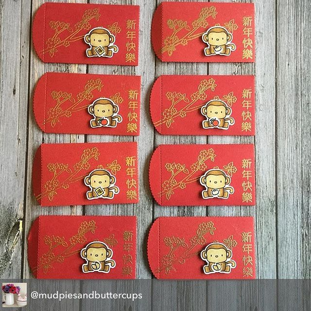 Red envelopes for Chinese New Year, made with Hey Mama Elephant stamps