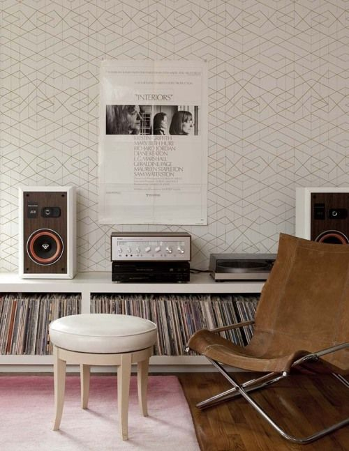 low record shelves + wall paper