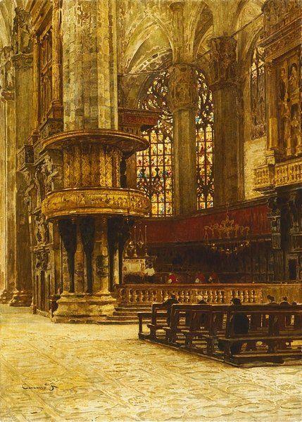 Interior of the Milan Cathedral. Filippo Carcano (1840-1914), 1874. (Gallerie di Palazzo Leoni Montanari, Venice, Italy)