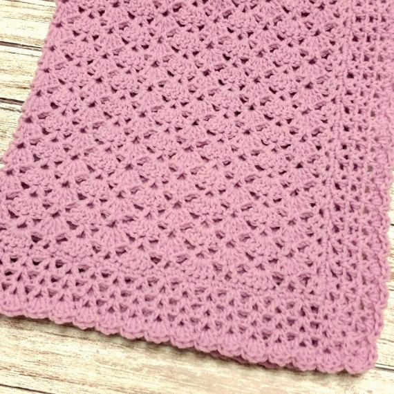 Handmade Lilac Baby Blanket.  Measures 31 × 28 & is made from a soft baby yarn. Machine washable and dryable. Hand crocheted in a pretty shell pattern with a decorative border. Designed and crocheted by me and comes from a non-smoking home. Brand new and ready to ship. Please contact me if you have any questions and check out my store for more handmade items.