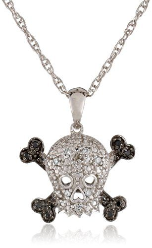 #blackdiamondgem Sterling Silver Black and White Diamond Skull Pendant Necklace, 18″ by Amazon Curated Collection - See more at: http://blackdiamondgemstone.com/jewelry/necklaces/pendants/sterling-silver-black-and-white-diamond-skull-pendant-necklace-18-com/#!prettyPhoto