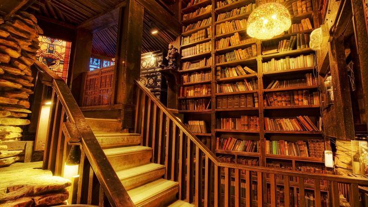 madera biblioteca mundial habitación arquitectura cabina retro libros resort hdr edificios de piedra escaleras rústicas lámparas luces de ferrocarril