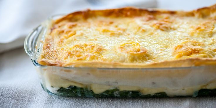 This fish lasagne recipe from Mark Dodson makes for a lovely lighter option than a traditionally meaty pasta bake. Creamy béchamel sauce (made with skimmed milk) is layered with tender flakes of poached haddock, spinach and carrots for a delicious pasta dish, all that's needed is a fresh salad or some steamed greens on the side.