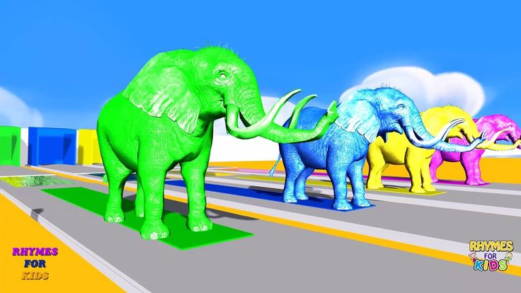 Learn Colors with Elephant and Sound        Nursery Rhymes for Kids