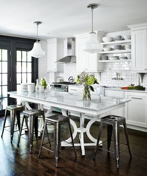 open kitchen.:  Boards, Decor, Idea, Black Doors, Kitchens Islands, Subway Tiles, Open Kitchens, Dining Tables, White Kitchens