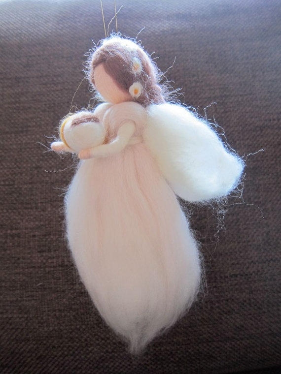 Needle Felted Traditional waldorf Guardian Angel by FeltandGrain, $30.00