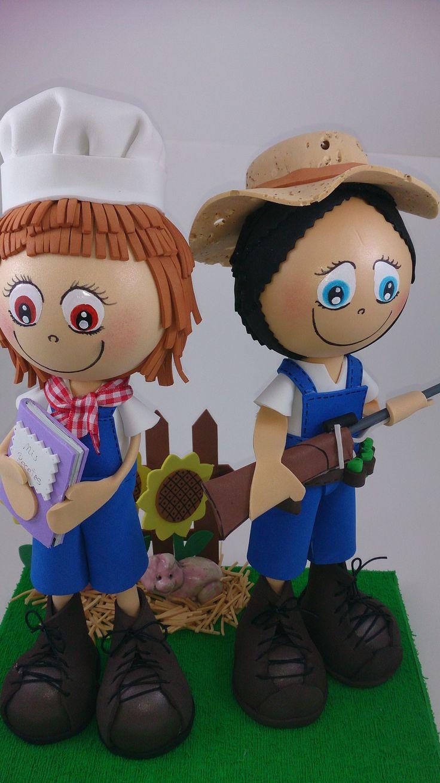 Fofucho-granjeros para un aniversario! El es aficionado a la caza y ella a la cocina. Hechos en Espacio Mooi.