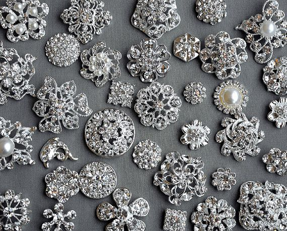 SALE 50 Assorted Rhinestone Button Brooch Embellishment Pearl Crystal Wedding Brooch Bouquet Invitation Cake Hair Comb BT549
