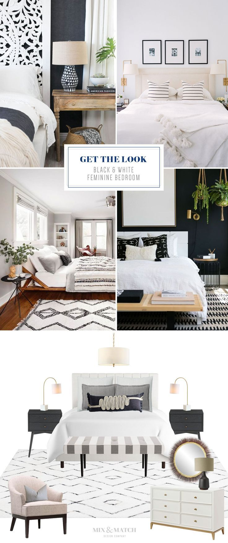 Get The Look Black White Feminine Bedroom Feminine Bedroom