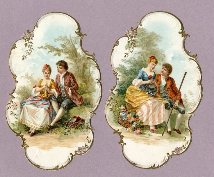 2 VICTORIAN DIE CUTS - 1880's - Romantic Couples in a Garden - Flowers