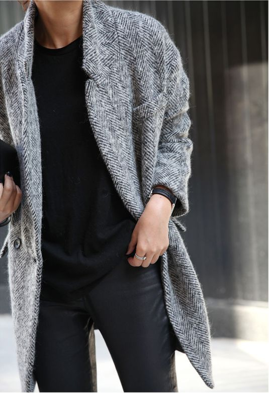 A grey coat is ever-chic.