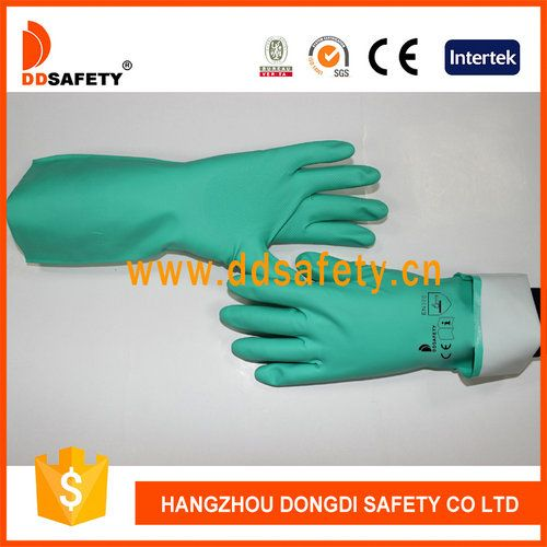 Green nitrile industry gloves.Flock lined or unlined.straight cuff.  Package Modes:one pair/polybag,240pairs/carton Cartons Size:61*36*20cm  Applications • Changing oil, fixing pumps. • Chemicals mixing/handling/transferring/pouring/blending. • Cleaning. • Opening, draining pumpsalves. • Painting, sealing, packaging. • Sampling/testing. • Maintenance. • Sub-assembly handling. • Tank filling. • Degreasing. • Metal fabrication. • Chemical processing and preparation. • Agrochemicals.