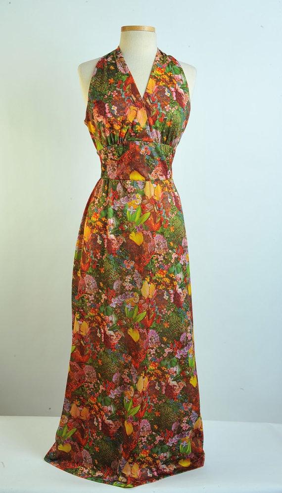 1970s handmade tropical maxi dress