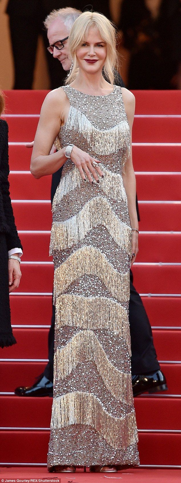 Show-stopping: Nicole Kidman, 49, stepped out in a flapper inspired gown by Michael Kors a...