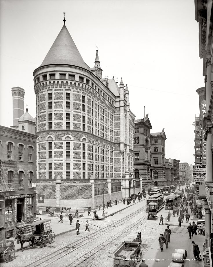 "Circa 1905. ""Tombs Prison, New York."" The view down Centre Street at Leonard Street."