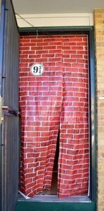 "Hang a brick backdrop in the doorway to make a perfect Platform 9 3/4 entrance. | 27 Magical Ways To Throw The Ultimate ""Harry Potter"" Party"