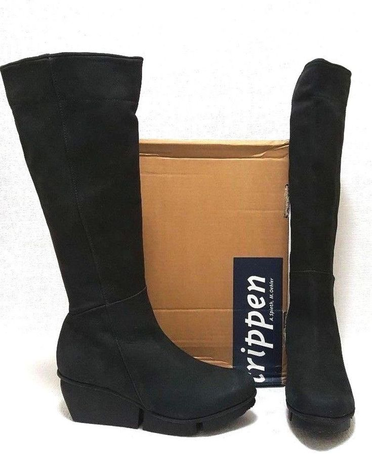 TRIPPEN <b>Womens</b> Leather Dart <b>Black Knee High</b> Boots size EUR ...