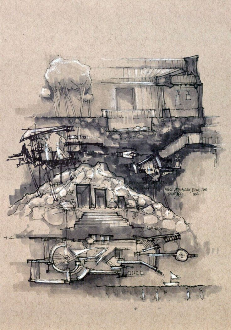 """Drawing ARCHITECTURE   Drawingss Tagged 'plan'Matthew Darmour-Paul, """"De-Composite"""" 2014, Copic Markers on Tan Strathmore, 8.5"""" x 5.5""""."""