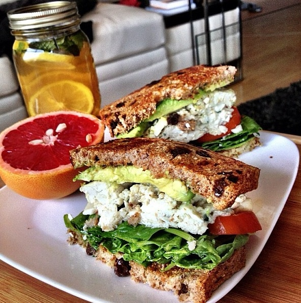 sandwich: egg whites, goat cheese, spinach, tomato slices, avocado ...