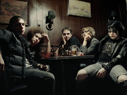 """Photoshoot: MCR, 2003; Photographer, Justin Borucki. Per his Tumblr: """"HEY MCR FANS: Click to buy the limited edition printhttp://shop.borucki.com/ My first portrait session with the band in 2003. Portions of the proceeds will benefit Sandy relief organizations.  My Chemical Romance, E 7th st NYC, 2003."""" Frank Iero, Ray Toro, Matt Pelissier, Mikey Way, Gerard Way."""
