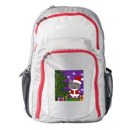 #Meowy Christmas Nike Backpack - #Xmas #ChristmasEve Christmas Eve #Christmas #merry #xmas #family #kids #gifts #holidays #Santa