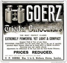 Original - Anzeige / Advertise 1903 : (ENGLISH) GOERZ TRIEDER BINOCULARS - 120 x 115 mm