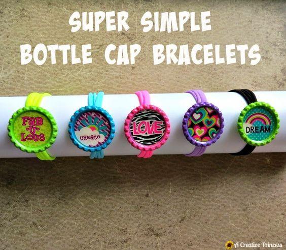 A creative princess super simple bottle cap bracelets for Bottle cap hat diy
