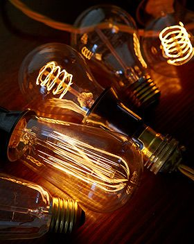 Filament bulbs.   They may not be energy savers but so so gorgeous.