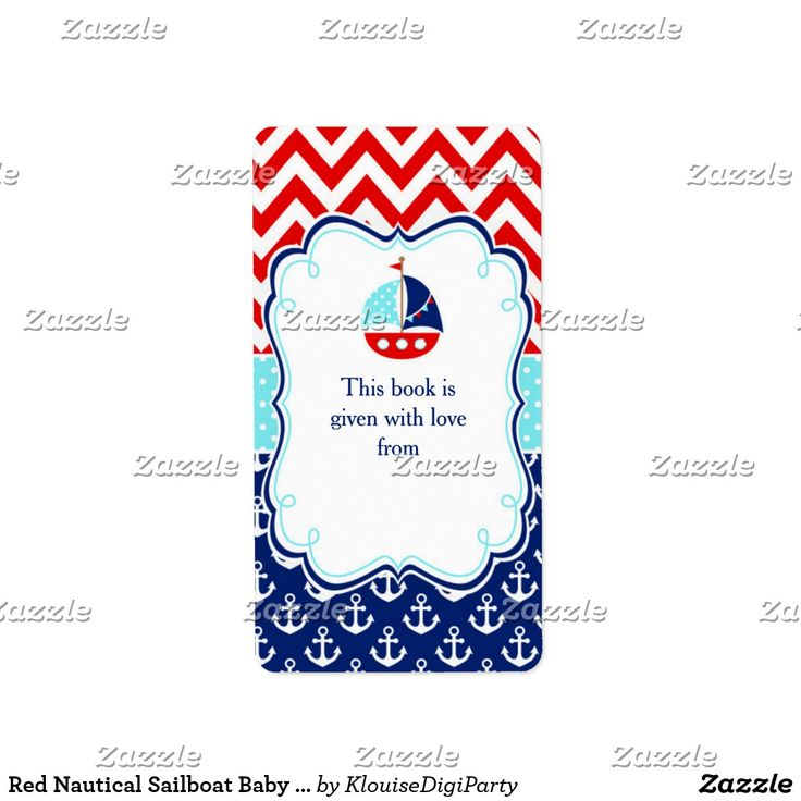 Red Nautical Sailboat Baby Shower Bookplate