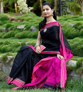 Cotton Sarees - Saree For The Special Date In Black And Fuschia By Kanchan PC 21357 - Thumbnail