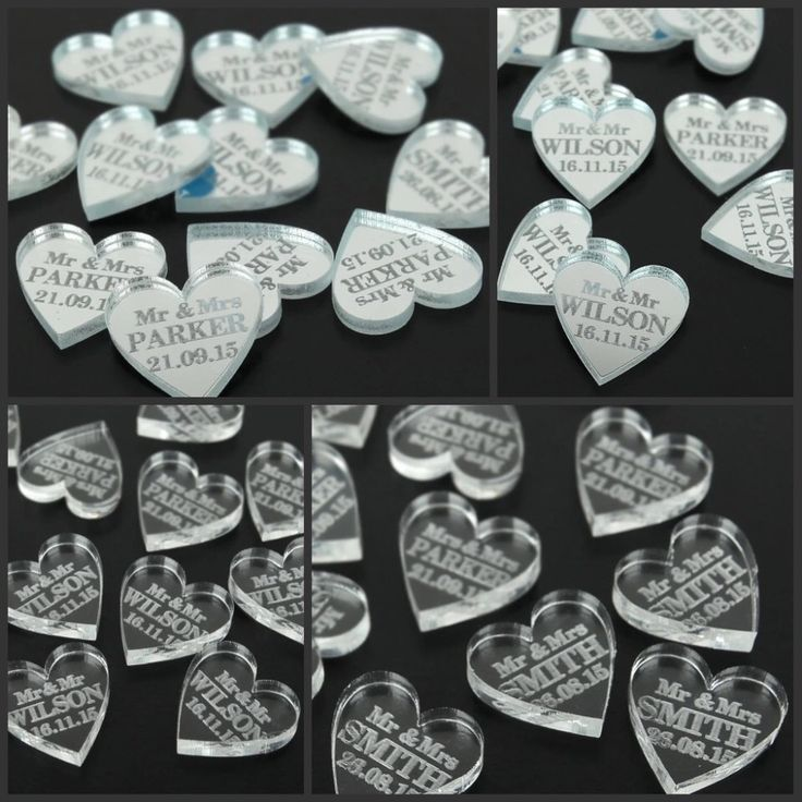 100 pcs Personalized Engraved MR & MRS Love Heart Table Scatters -2 finishes…