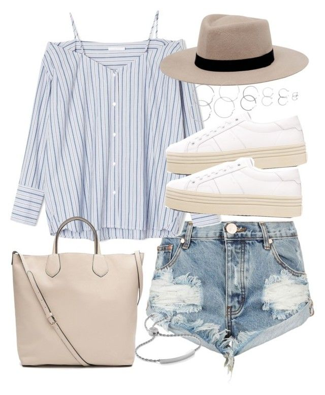 """Outfit for summer with denim shorts"" by ferned on Polyvore featuring OneTeaspoon, MANGO, Yves Saint Laurent, Forever 21, Witchery and Monica Vinader"